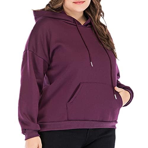EMPERSTAR Sudadera De Talla Grande para Mujer Suéter con Capucha Suelto para Mujer De Gran Tamaño Púrpura XXL