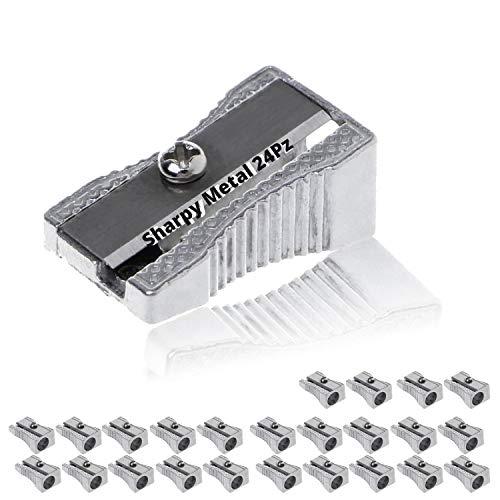 LogicaShop - Sharpy - Sacapuntas de metal pequeño clásico de aluminio y acero - Sacapuntas de metal con 1 agujero para lápices kawaii, niños, escuela y maquillaje de ojos (24)