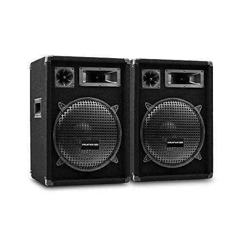 "auna Pro PW MKII - passive PA-Lautsprecher PA-Boxen, 2er-Set: 2 x PA-Box, 3-Wege-Bauweise, Piezo-Hochtöner, 30,5 cm (12\"") Subwoofer, Belastbarkeit: 300 Watt RMS / 600 Wmax, schwarz"