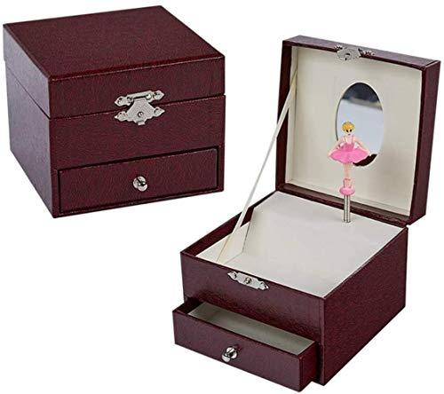 WJDOZ Bailarina Música Joyero, Rotación de baile caja de música for niños, música con arrancamiento del cajón, caja de almacenamiento de la joya, cumpleaños Caja de regalo de la joyería caja de almace
