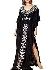 YouKD Wemon's Summer Cotton Long Kaftan Maxi Dress Bohemian Swimsuit Beach Cover Up Robes
