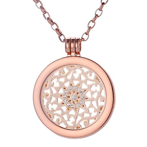Morella Mujeres Collar 70 cm Acero Inoxidable de Oro Rosa y Colgante Amuleto Coin 33 mm Ornamento de Sol 33 mm de Color Rosa-Oro para Damas en Bolsa para Joyas