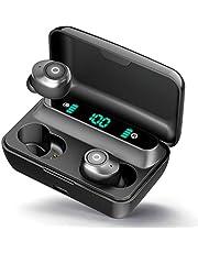 【最新版 LEDディスプレイ Bluetooth イヤホン】Bluetooth 5.0 (ワイヤレス イヤホン) 140時間連続駆動 電池残量インジケーター付き 最軽量4g イヤホン Hi-Fi 高音質 AAC対応 完全ワイヤレスイヤホン 安定接続 左右分離型 ブルートゥース イヤホン 自動ペアリング PSE認証済/技適認証済/Siri対応/iPhone&Android対応 (ブラック)