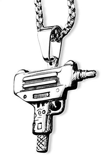 Collar para mujer, collar para hombre, color plateado, con forma de pistola, colgante, collar para hombre, niño, estilo militar, cadena masculina, collares masculinos, joyería de acero inoxidable, col