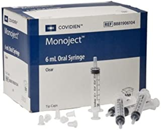 Covidien 8881906104 Monoject Oral Syringe, Polypropylene, 6 mL Capacity, Clear (Pack of 100)