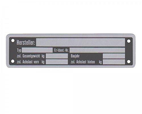 1 x Blanko Typenschild Anhängertypenschild Neutral Anhänger - Vers. 5