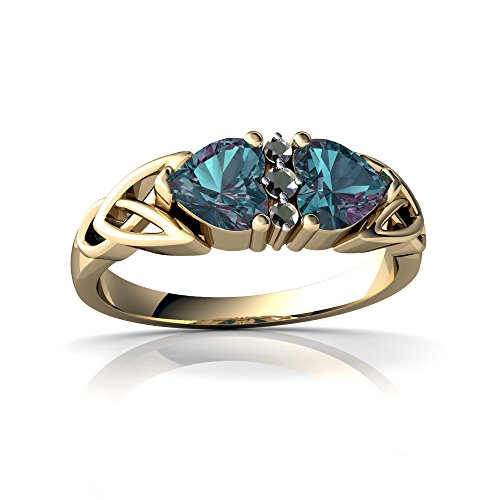 14kt White Gold Lab Alexandrite and Diamond 5mm Heart Celtic Trinity Knot Ring - Size 6