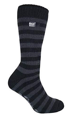 HEAT HOLDERS - Hombre invierno gordos antideslizantes calcetines estar por casa (46-50 Eur, Black/Grey)