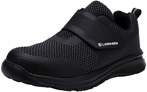 LARNMERN Steel Toe Safety Shoes Men Indestructible Lightweight Work Shoes Mens Women Breathable Sneakers Tennis Hiking Reflective Stripes Puncture Proof Shoe 121115 Men Black