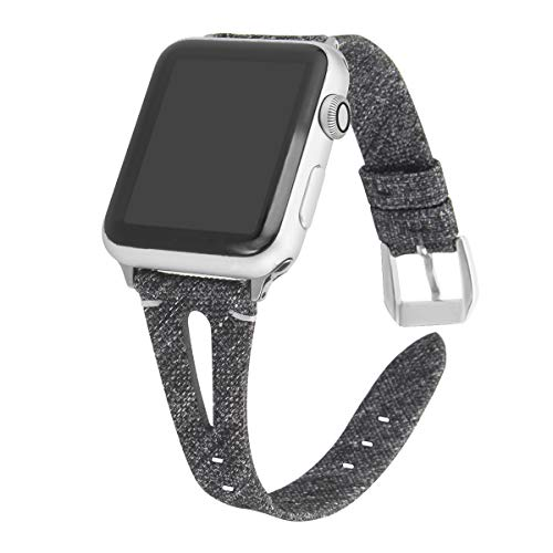 Somoder Slim Woven Bands Compatible with Apple Watch 42mm 44mm, Soft Cloth Fabric Canvas Strap Replacement for iWatch Series 5/4/3/2/1 Women Man