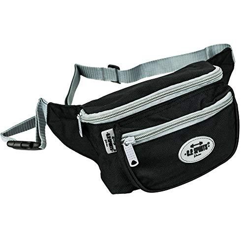C.P. Sports Gürteltasche, Bauchtasche, Hüfttasche in 9 Farben - Doggy Bag, Waistbag für Damen und Herren Sport und Outdoor (Schwarz-Logo)