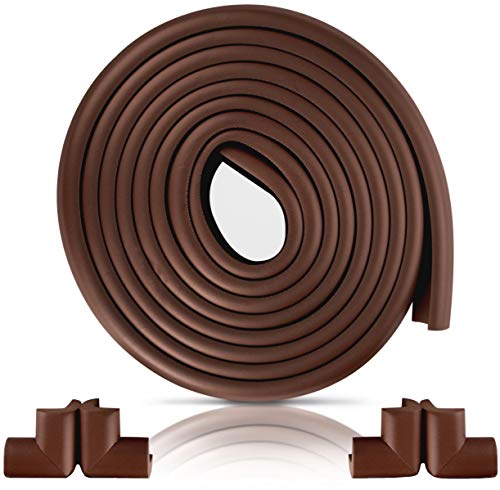 Furniture Edge and Corner Guards | 16.2ft Protective Foam Cushion | 15ft Bumper 4 Adhesive Childsafe Corners | Baby Child Proofing Foam Set and Safe for Table, Fireplace, Countertop | Brown
