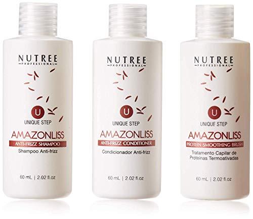 Amazonliss Keratin One Step Haarglättung - Brasilianische Proteinbehandlung - 1 Schritt Proteinglättungsbürste - Neue Formel - Geruchsfrei - Formaldehydfrei - 60 ml set