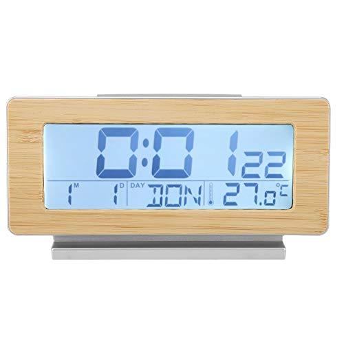 Victool Reloj Despertador eléctrico, Carcasa de Grano de Madera 12/24H Reloj Despertador...