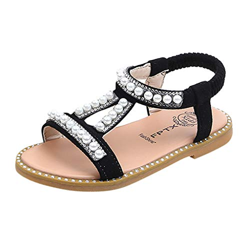 WUAI Kids Baby Girls Summer Sandals Fashion Boho Princess Flat Shoes Crystal Beach Roman Sandals 1-6Years(Black,5.5-6Years)