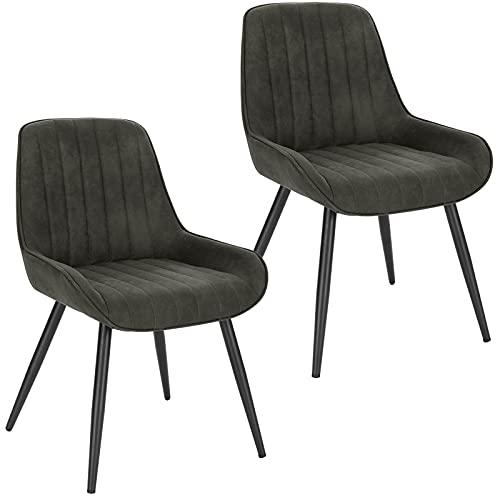 Lestarain 2X Sillas de Comedor Dining Chairs Sillas Tapizadas Paquete de 2 Sillas Cocina Nórdicas Tejido científico Sillas Bar Metal Silla de Oficina Gris Oscuro