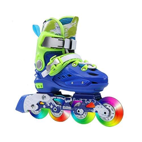 Al aire libre Principiante aptitud azul ajustable patines en línea, la rueda delantera flash iluminación Diversión velocidad patines de ruedas for los muchachos, for niños Tamaño: L (UE-37 EU 40) 12-a