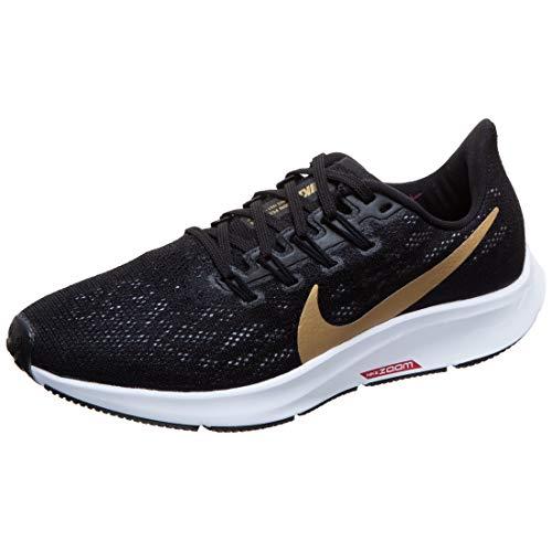 Nike Air Zoom Pegasus 36, Zapatillas de Running Mujer, Black/Metallic Gold/University Red/White, 39 EU