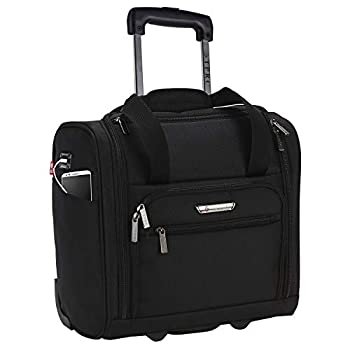 TPRC 15-Inch Smart Under Seat Carry-On Luggage with USB Charging Port Black Underseater