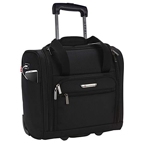 TPRC 15-Inch Smart Under Seat Carry-On Luggage with USB Charging Port, Black, Underseater
