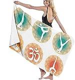 Toalla De Playa Microfibra,Pose De Yoga Anti-Arena,Fuerte Absorción De Agua Súper Blando Y Secado Rápido,para Deportes,Viajes,Natación,Playa,Yoga O Baño 130×80cm