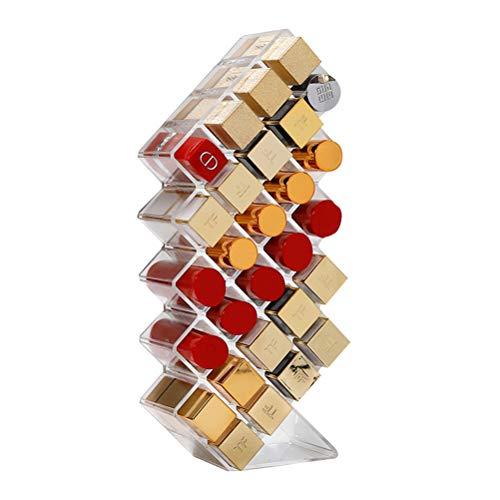 Organisateur de rouge à lèvres, support de maquillage à 28 compartiments et présentoir de stockage de cosmétiques pour le rouge à lèvres, les pinceaux, les bouteilles (clair)