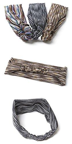 [エムエイチエー]M.H.A.styleヘアバンドレディース(ボーダー)ヘアターバン薄手[全3色]21082B.グレー
