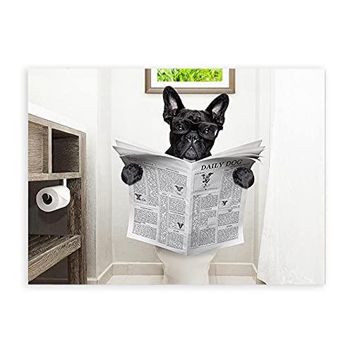 Perro Sentado En El Inodoro Leyendo Revista Poster Gracioso Gafas Bulldog Lienzo Pared Arte Lindo Mascota Arte Impresiones Pinturas Cuarto De BañO Cuadro Hogar NóRdico Decoracion 50x70cm Sin Marco