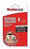 fischer 548837 Parche Adhesivo Sclm Repara blíster de 10 uds, para tapar Pared y Reparar Agujeros de Tacos desbocados y abolladuras, sin Usar Taladro, fácil aplicación, Blanco