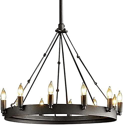 JIN Lámpara industrial redonda vela colgante luz rústico negro metal accesorio de iluminación para comedor granja
