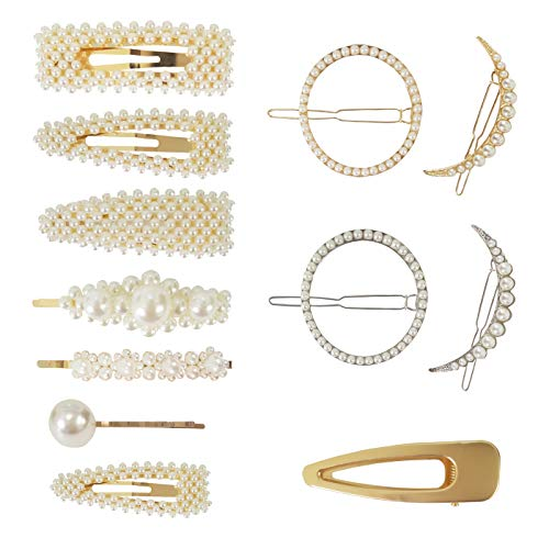 QiKoKo 12 Pieces Artificial Pearl Hair Barrettes for Women Hair Clips Hairpins Alligator Pins Snap Clip Party Bridal Hair Decorative Styling Accessories for Ladies Girls (Pearl_12P)