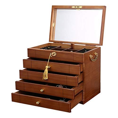 DFGRFN Organizador de Joyas con Cerradura, joyero de Madera con Espejo, Vitrina de Almacenamiento de Pendientes de Anillo de Collar,5 Tier