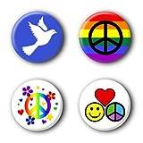 4 Peace Buttons Ansteckbuttons Frieden Peacebuttons Buttonset Anstecker #4 (2,5cm) -