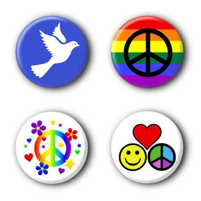 4 Peace Buttons Ansteckbuttons Frieden Peacebuttons Buttonset Anstecker #4 (2,5cm)