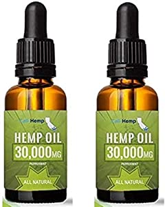 (2 Pack) Pure Organic Hemp Oil Extract 60000mg for Anxiety Relief Stress Relief & Pain Relief- All Natural Hemp Drops Ingestible & Topical Use - Vegan - Non-GMO - Plant Based-Peppermint