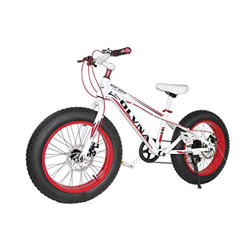 YAOXI 20 Pulgadas Bicicleta De Montaña Bicicleta con 4 Pulgadas Más Grueso Antideslizante Neumáticos Marco Hecho De Acero Al Carbono 7 Velocidades Bicicleta para Niños,White/Red