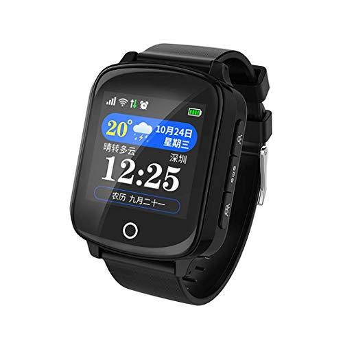 GGPUS Reloj Anciano, posicionamiento Anti-perdido con GPS Humano, Monitor Anti-pérdida de la presión Arterial del localizador Anti-pérdida de Personas Mayores, Reloj de Alarma Anti-caídas,Black