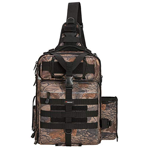 Piscifun Large Capacity Outdoor Tackle Bag Fishing Tackle Storage Durable Multifunctional Bags for Camping Hiking Cycling Travelling Camouflage