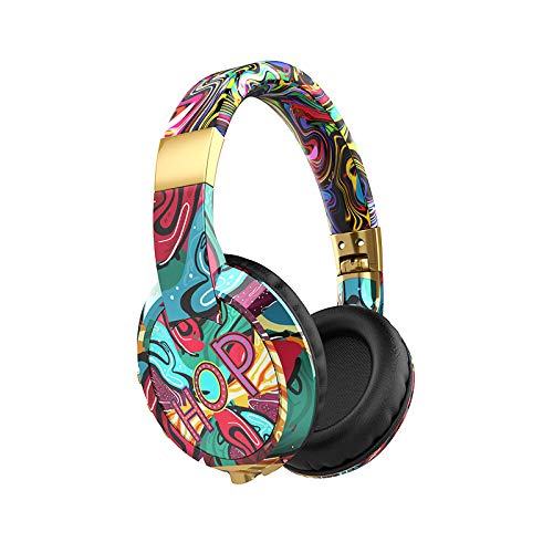 Ouniman Fashion Graffiti Gaming Headset, Sports Noise Reduction Headphone, Wireless/Wired Adjustable Stereo Earphone, Over Ear Headset with Mic Soft Memory Earmuffs for Desktop Laptop PC(Wireless)