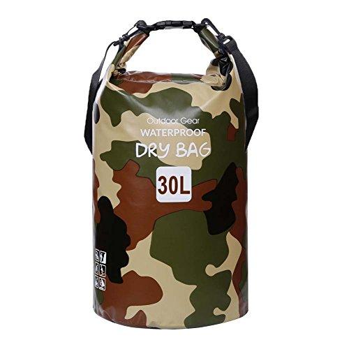 ZhaoCo Wasserdichter Packsack, 5L/10L/20L/30L wasserdichte Tasche Sack PVC Dry Bag für Kayaking, Bootfahrt, Kanufahren, Fischen, Rafting, Schwimmen, Kampieren, Snowboarding Wassersport(Tarnung,10L)