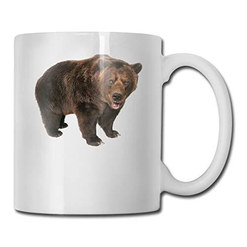 Montana Symbolische Grizzly Bär-Tassen, weiße Tasse, Kaffeetasse, für Männer und Frauen, originelles Geschenk, 313 ml, Einheitsgröße