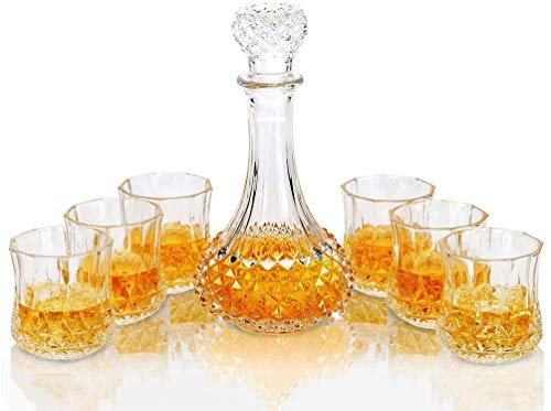 FZC-YM Juego de Whisky y Vasos, 600 ml de Whisky de Cristal sin Plomo con 6 Vasos de Whisky de 300 ml, para Whisky escocés, Licor, Vodka, 7 Piezas