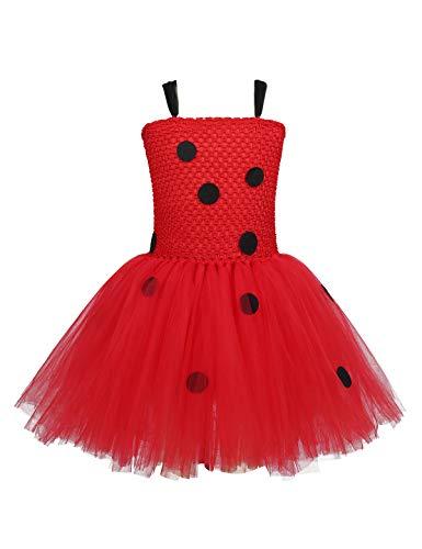 CHICTRY 3tlg. Set Costume da Coccinella per Bambine con Pois Neri e Borsa e Maschera per Carnevale e Cosplay Rot 110/116 cm (5-6 Anni)