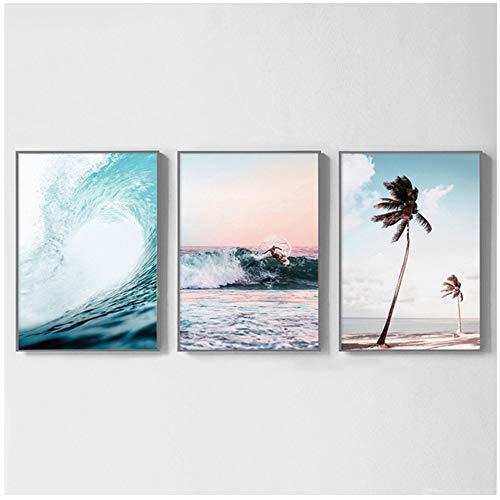 ZYHFBHFBH Leinwand malerei Wand Nordic Landschaft surf Poster wandkunst Luft Strand Ozean Welle drucke Palm Tree Bild für Wohnzimmer 30x40 cm (11,8