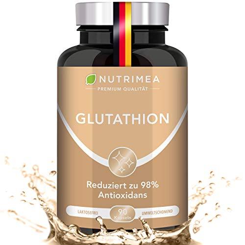 L-GLUTATHION reduziert zu 98% | Optimale Formel mit Vorläufern + Vitamin C | Tripeptid: Glutaminsäure, Cystein, Glycin | 90 Kapseln MAGENSAFTRESISTENT Hochdosiert Immunsystem Antioxidans Anti-Aging