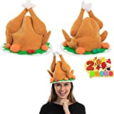 2 Pack Plush Roasted Turkey Hat for Thanksgiving Night Event, Dress-up Party, Thanksgiving Decoration, Role Play, Carnival, Cosplay, Costume Accessories Brown