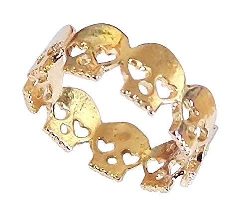 Anillo para dedo del pie de calavera dorada con ojo de corazón gótico punk rock vestido de fiesta estilo vintage joyería para mujeres hombres niños niñas