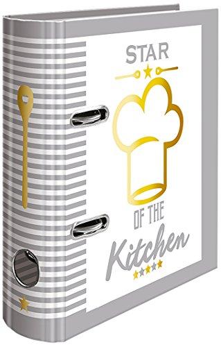 HERMA 15416 Rezeptordner DIN A5 Star of the Kitchen zum Selberschreiben, 7 cm breit aus stabilem Karton mit Goldfolienprägung und 5-tlg. Register, Rezeptbuch, Motivordner, 1 Ordner