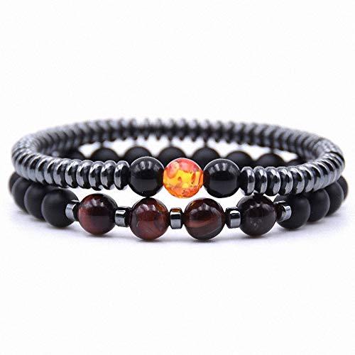 Womens Bracelet 2Pcs/Set Fashion Natural Stone 8mm Beads Bracelet Men 6mm Hematite Round Tablets Chain Bracelets for Women Pulseras 12