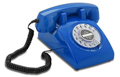 Opis 60s Cable: Klassisches Telefon der 60er und 70er mit schwarzem Deutsche Post Pappeinleger/Retro Telefon im sechziger Jahre Vintage Design mit Wählscheibe und Metallklingel (blau)